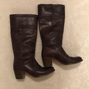 Frye brown leather western tall boots